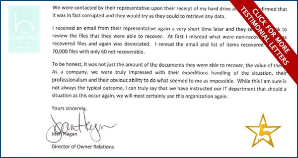Secure Data recovery Hartford - Testimonial Letters of Appreciation