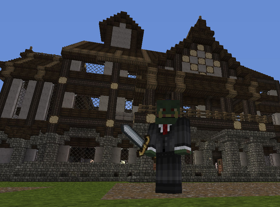 A Minecraft House with a Builder