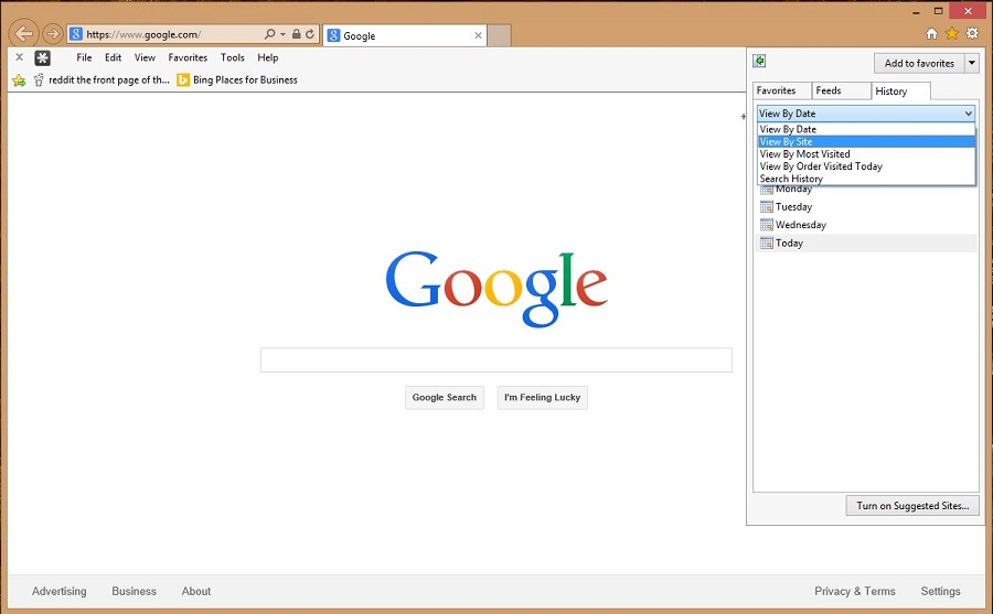 Access the Internet Explorer browser to edit your history