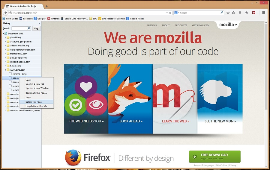 Access the Firefox browser to edit your history