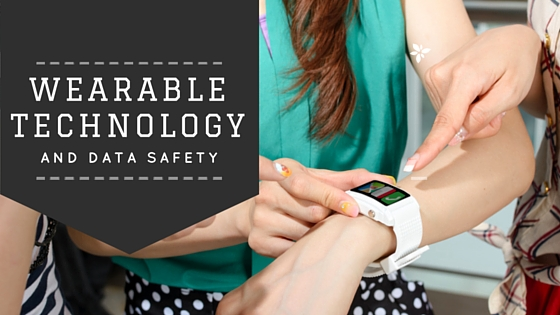 Hand of woman wearing wearable tech device