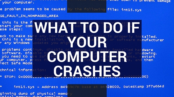 a blush screen of coding errors is in the background of text that reads What to Do if Your Computer Crashes